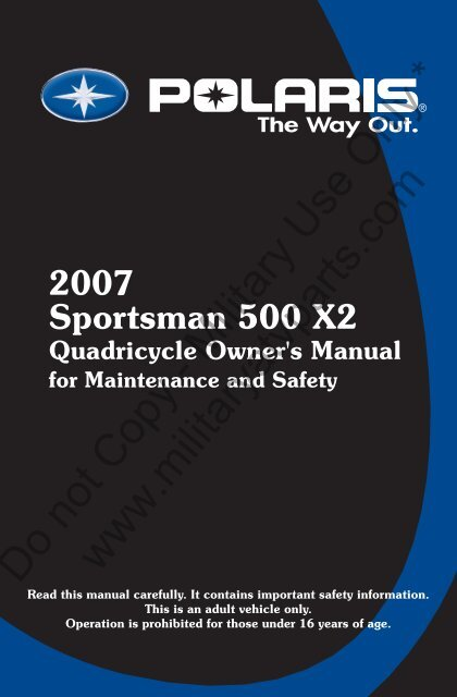 owners manual polaris sportsman 500