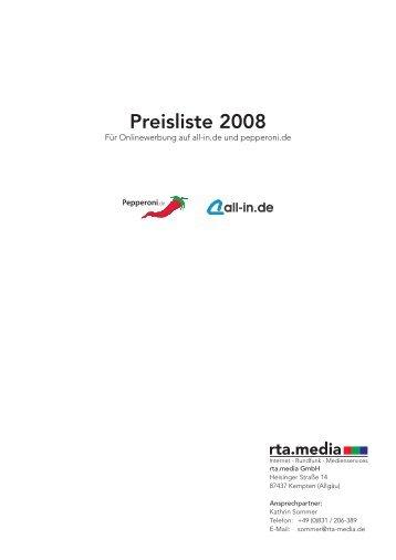Preisliste 2008