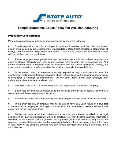 Sample Substance Abuse Policy For Ace Manufacturing - State Auto