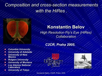 Composition and cross-section measurements with the ... - particle.cz