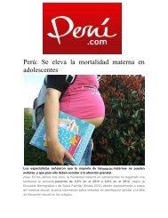 Perú: Se eleva la mortalidad materna en adolescentes - Sistema ...