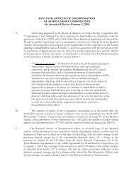 RESTATED ARTICLES OF INCORPORATION OF ATMOS ENERGY ...