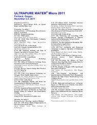ULTRAPURE WATER Micro 2011 - I-Newswire