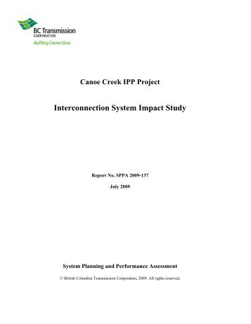 Interconnection System Impact Study - BC Hydro - Transmission