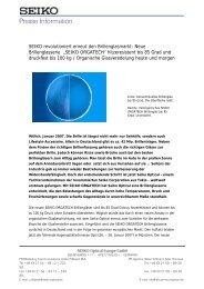 Presse Information - SEIKO  Optical Europe GmbH