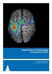 Department of Psychology - Royal Holloway, University of London