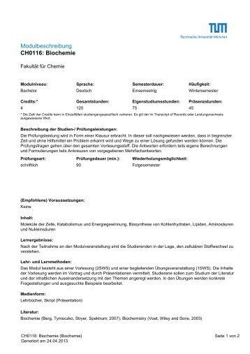 Modulbeschreibung CH0116: Biochemie