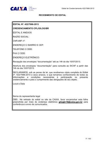 Edital de Credenciamento 422/7066-2013 - Caixa Econômica Federal