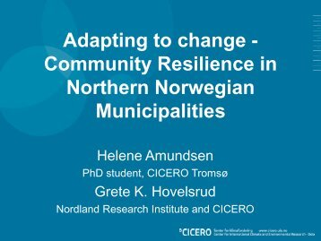 Adapting to change - Community Resilience in Northern Norwegian ...