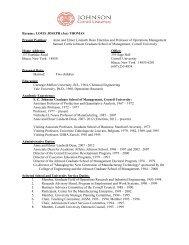 Resume: LOUIS JOSEPH (Joe) - Johnson Graduate School of ...