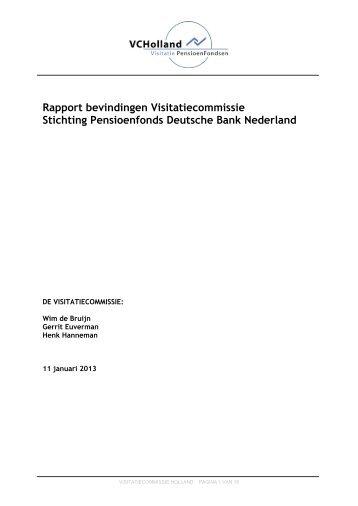 Rapport visitatie Pensioenfonds Deutsche Bank 2012