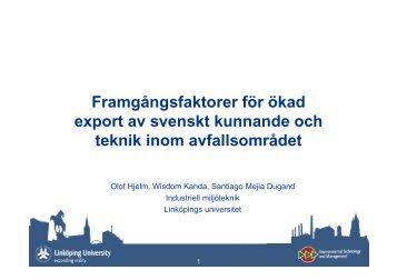 Presentation Olof Hjelm - Avfall Sverige