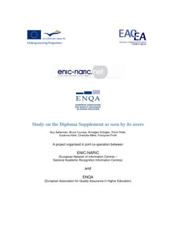 Study on the Diploma Supplement as seen by its users (pdf) - ENQA