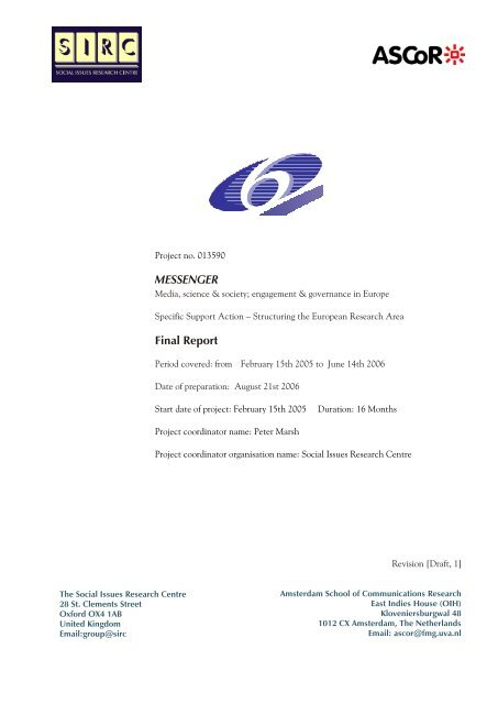 Messenger Final Report Social Issues Research Centre