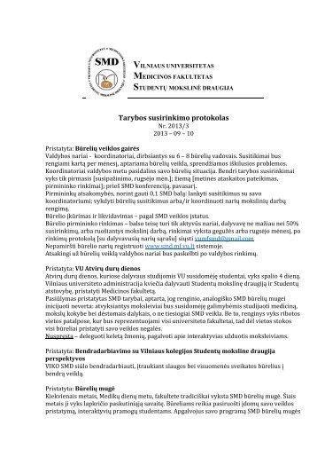 Tarybos susirinkimo protokolas - SMD - Vilniaus universitetas