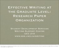 Effective Writing at the Graduate Level - Student Development ...