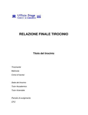 RELAZIONE FINALE TIROCINIO - Ingegneria