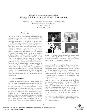 Visual Correspondence Using Energy Minimization and ... - PRIMA