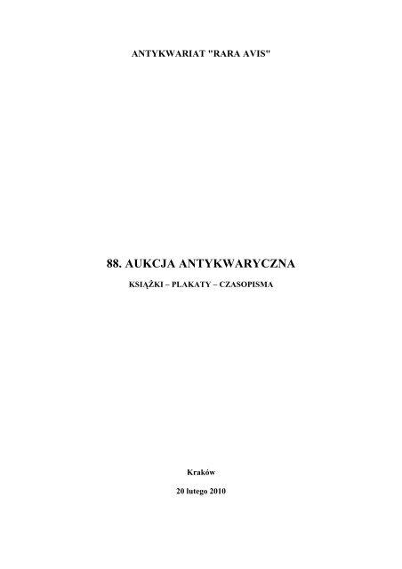 88 Aukcja Antykwaryczna Rara Avis