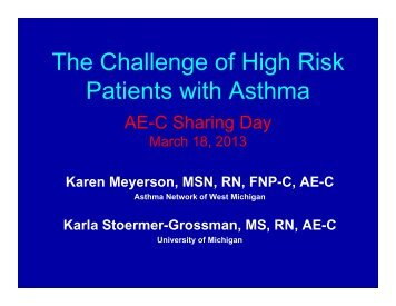 The Challenge of High Risk Patients with Asthma - Asthma Initiative ...