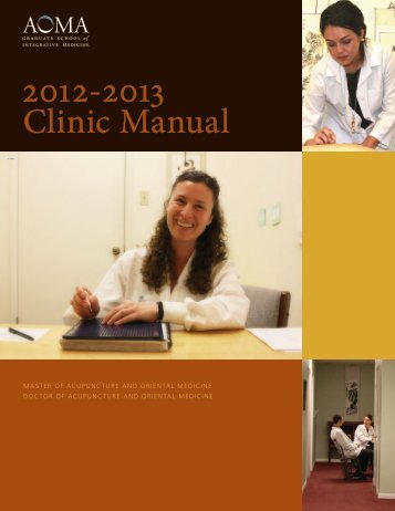 Clinic Manual - AOMA Graduate School of Integrative Medicine