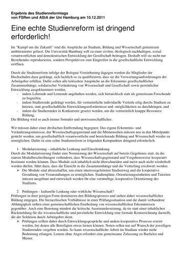 Eine echte Studienreform ist dringend erforderlich! - FSRK