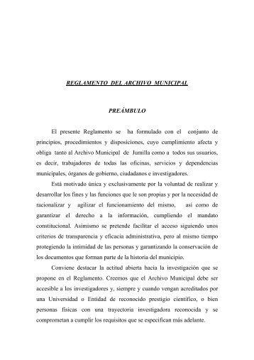 REGLAMENTO DEL ARCHIVO MUNICIPAL - Proyecto Webs