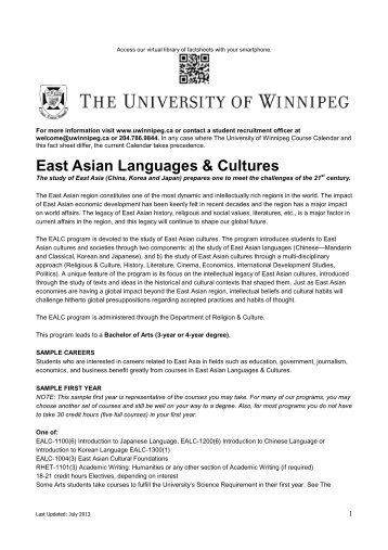 East Asian Languages & Cultures - University of Winnipeg