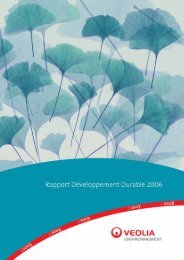 Rapport Développement Durable 2006 - Veolia Finance - Veolia ...
