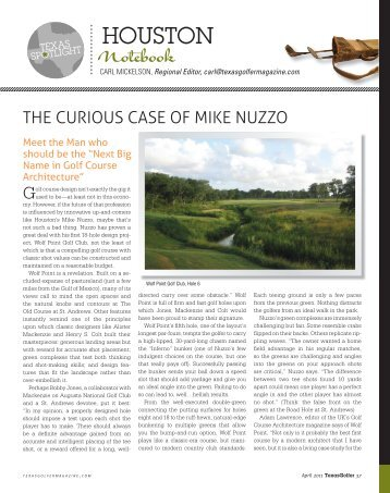 Texas Golfer Magazine's article about our work - Mike Nuzzo Golf ...