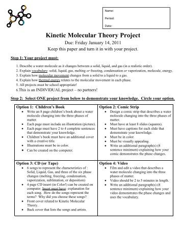 Printables Kinetic Molecular Theory Worksheet kinetic molecular theory gas laws oakland schools project
