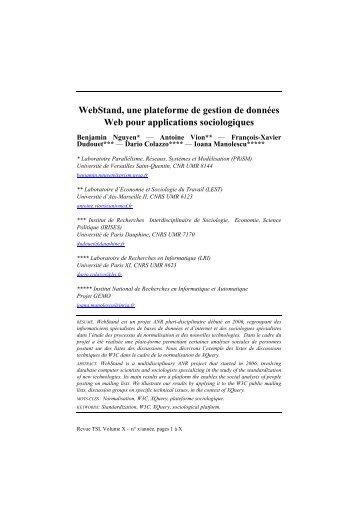 WebStand, une plateforme de gestion de données Web ... - smis inria
