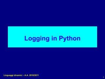 Logging e configurazione in Python - Agentgroup
