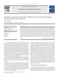 Individual, country and societal cluster differences on measures of ...
