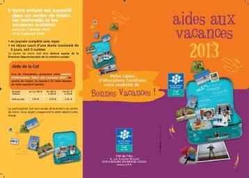 consultez le dépliant de présentation des aides aux vacances - Caf.fr