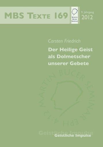 Der Heilige Geist als Dolmetscher unserer Gebete - Martin Bucer ...