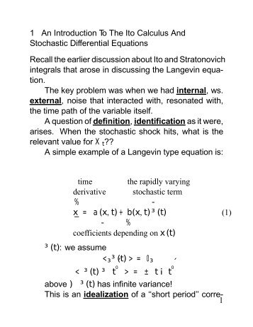 An Introduction to the Ito Calculus and Stochastic Differential ...
