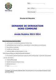 Demande de dérogation hors commune - Dreux.com