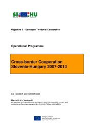 Cross-border Cooperation Slovenia-Hungary 2007-2013 - SI-HU