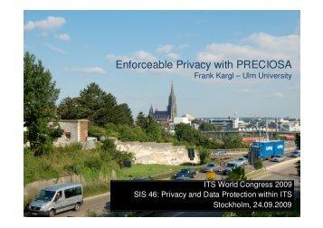 Privacy Enforcement with the PRECIOSA Architecture - Sevecom
