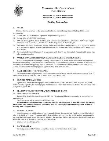 Sailing Instructions - Manhasset Bay Yacht Club