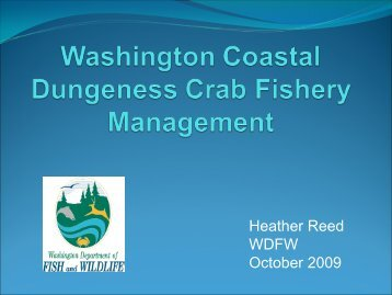 Washington Coastal Dungeness Crab Fishery Management