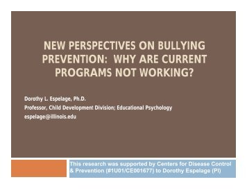 NEW PERSPECTIVES ON BULLYING PREVENTION: WHY ARE ...