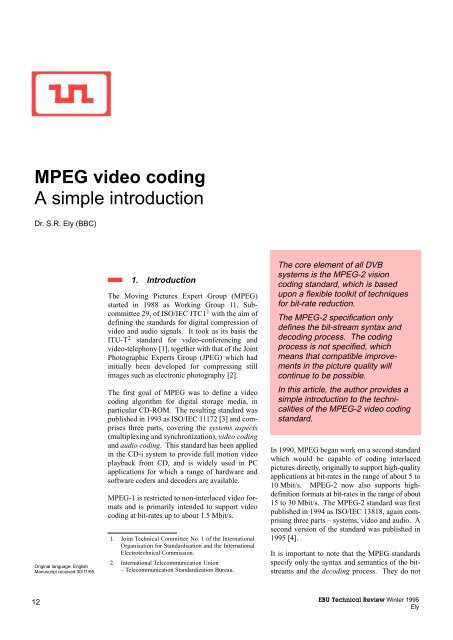 MPEG video coding A simple introduction - Signal & Image