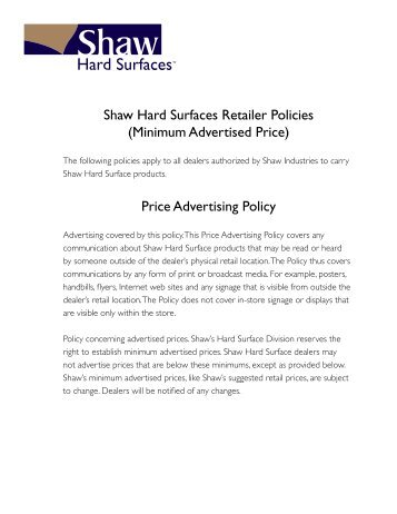 BELLWETHER MINIMUM ADVERTISED PRICE POLICYUSA - Map minimum advertised price