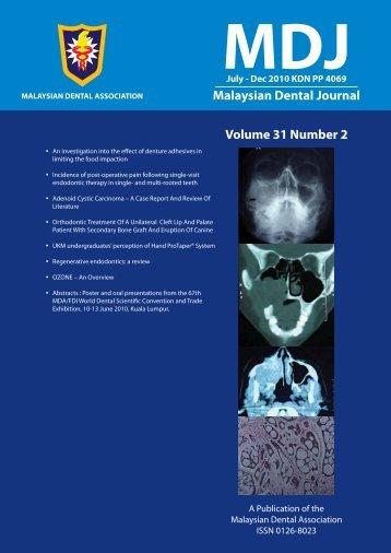 PDF(1.5mb) - Malaysian Dental Association