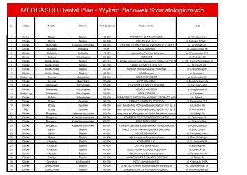 MEDCASCO Dental Plan - Wykaz Placowek Stomatologicznych