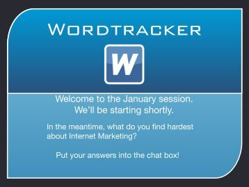 In the meantime, what do you find hardest about ... - Wordtracker