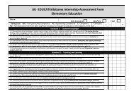 AU EDUCATEAlabama Internship Assessment Form Elementary ...