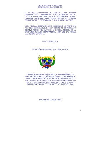 pliegos definitivo - Gobernación del Guaviare